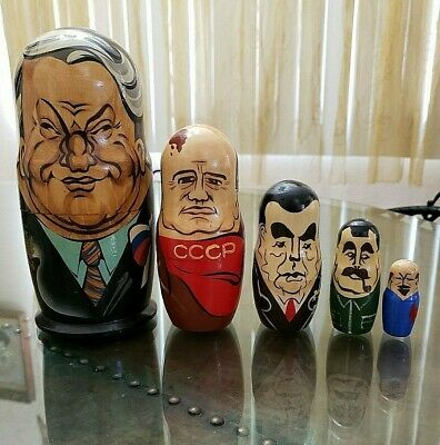 "Russian Nesting Wooden Dolls of Five Former Russian Presidents 8"" Tall"