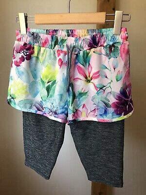 BNWT Next Girls Active Shorts 2 In 1 Multi Floral Pattern Age 12 Years