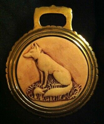 FOX SITTING Porcelain Bisque Horse Harness Brass EARLY! Rare!  WOW YOUR WALLS!
