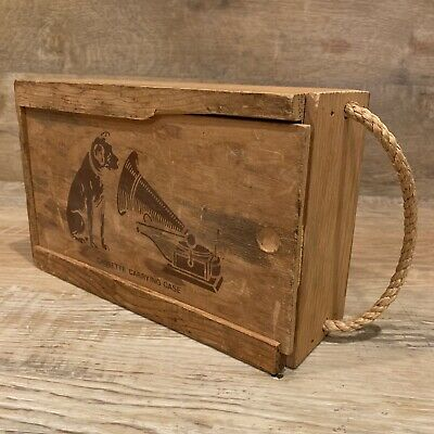 Vintage Rca Dog Phonograph Wooden Cassette Travel Carrying Case Rope Handle