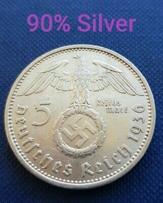 Vintage 1936 Silver Nazi Germany 5 Reichsmark Coin High Quality. 90% Silver. 6/6