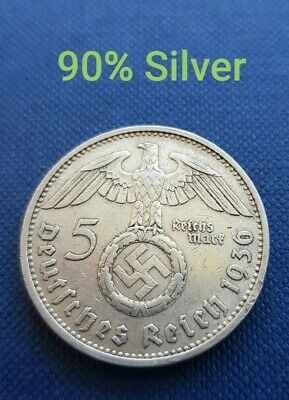 1936 VINTAGE NAZI GERMANY SILVER 5 REICHSMARK COIN 90% SILVER 3/6 from Perth WA