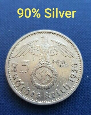 VINTAGE 1936 SILVER NAZI GERMANY 5 REICHSMARK COIN. 90% SILVER.4/6 from Perth WA