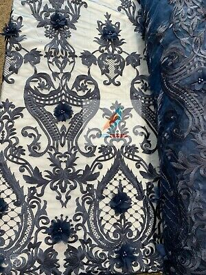 Navy Blue_Floral_ 3D Flowers Beaded Embroider Mesh Lace Fabric By Yard/Fashion