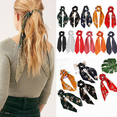 Accessories Elastic Hair Rope Floral Bow Scrunchie Hair Bow Ties Ponytail Scarf
