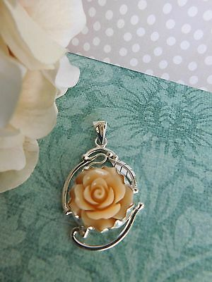 Taxco Mexican Sterling Silver 925 celluloid resin rose vintage style pendant