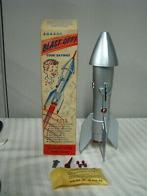 Vtg NOS 1957 Astro Mfg Guided Missile Berzac Mechanical Coin Bank NEW OLD STOCK