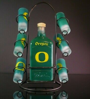 Oregon State Ducks Liquor Bottle Decanter with shot glasses and metal rack RARE