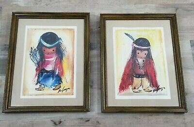 Vintage 1970s Degrazia Art Painting Signed Native American Child Framed PAIR
