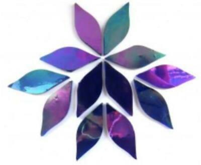Small Rainbow Blue Iridised Stained Glass Petals - Mosaic Tiles Supplies Craft