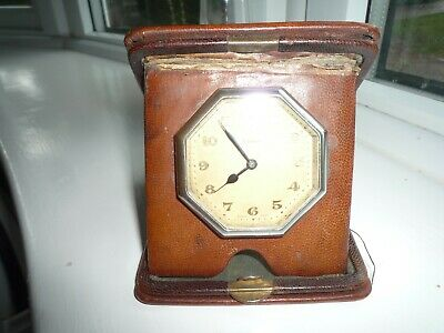 Vintage  Travel Clock Leather / Brass Case Swiss Made