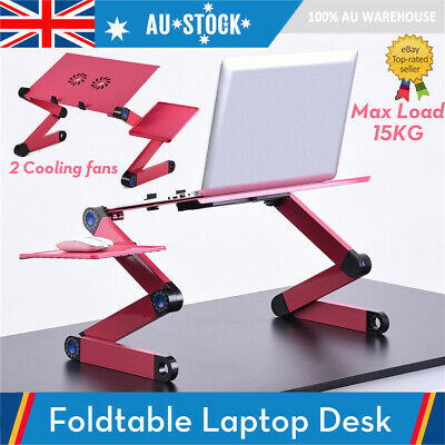 Adjustable Foldable Laptop Desk Table Stand with Cooling Dual Fan Mouse Board