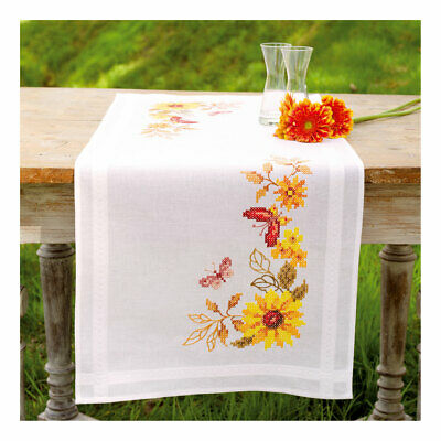 Embroidery Kit Runner Sunflower & Butterflies Stitched on Cotton   40 x 100cm