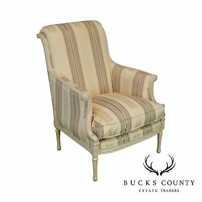 French Louis XVI Style Custom Painted & Upholstered Bergere Chair