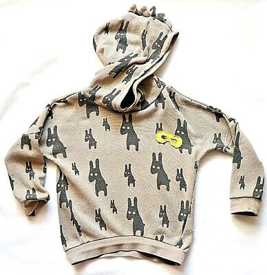 COLOUR CASSETTE Boys Brown Novelty Hoodie Rabbits Brown Long Sleeve Size 90cm