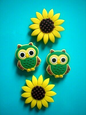 Garden Beach Clog Shoe Charm Button Plug Accessories Bracelet Sun Flower Owls