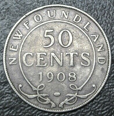 OLD CANADIAN COIN 1908 NEWFOUNDLAND - 50 CENTS - .925 SILVER - Edward VII - Nice