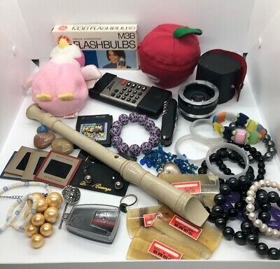 Vintage Junk Drawer Lot Jewelry Beanie Baby Recorder Bracelets Lens Gameboy Game