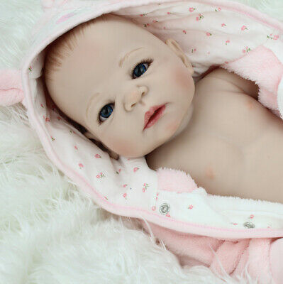 "22""Reborn Baby Doll Realistic Newborn Vinyl Silicone Hand-painted hair Girl Doll"