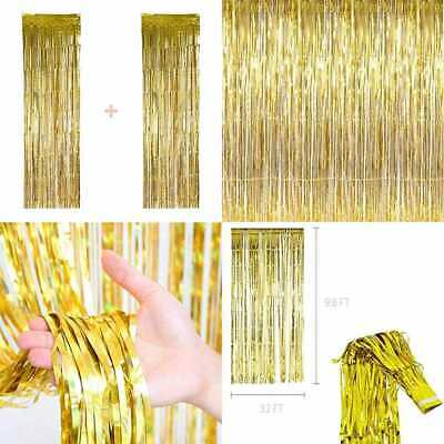 Gold Sequence Backdrop GOLD Tinsel Shiney Metallic Foil Fringe Curtains 2 Pack B