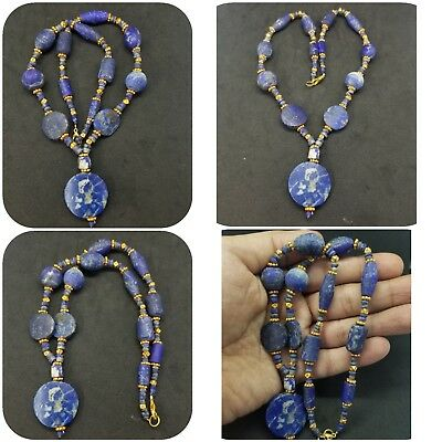 Unpolish Lapis lazuli Stone And Brass Gold plated Beads Unique necklace #2Q