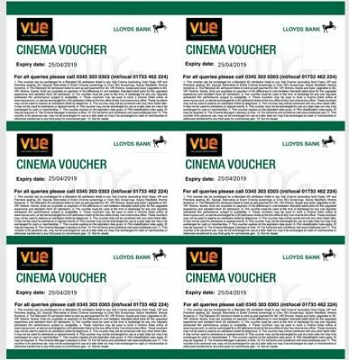 6 Vue Cinema Vouchers Valid Till 11th June 2020