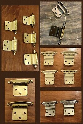15 Cabinet Door Hinges Non Self Closing Polished Brass Silver Ivory Tan Vintage