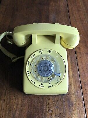 Vintage Bell Yellow  ROTARY TELEPHONE Phone in working condition