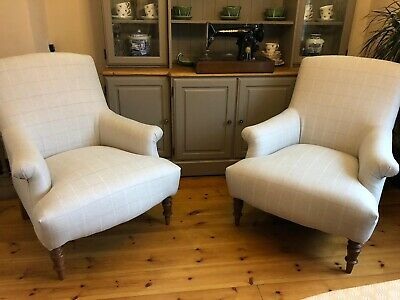 Pair Of French Style Armchairs Handmade Elmore Check Silver Made In Cornwall