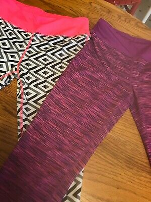 Danskin Girls Large 10/12 Leggings Work Out Pants (2) Pair EUC