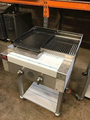 2 Burner Gas Charcoal Char Grill BBQ Self Standing - with Hotplate