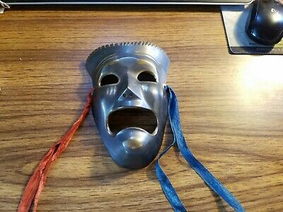 """Vintage Brass Tragedy Face Mask  Theater Drama Ancient Replica Hanging 6.5"""""""
