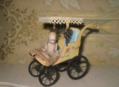 Sweet Vintage Artist Miniature Hand Painted Carriage W/Antique German Baby Doll