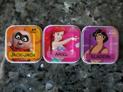 3 x Woolworths Disney Words Tiles - Jack Jack Ariel and Aladdin