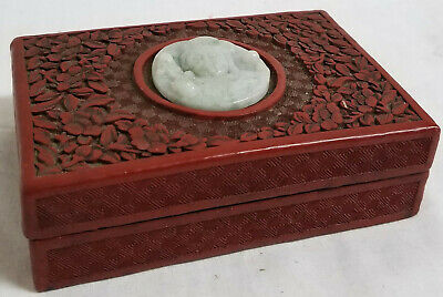 Antique Chinese Cinnabar Lacquer Jewelry Box Flower Jadeite Jade Guanyin