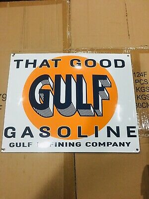That Good Gulf Gasoline Porcelain Sign Station Pump Plate Sign Gulf Man Cave