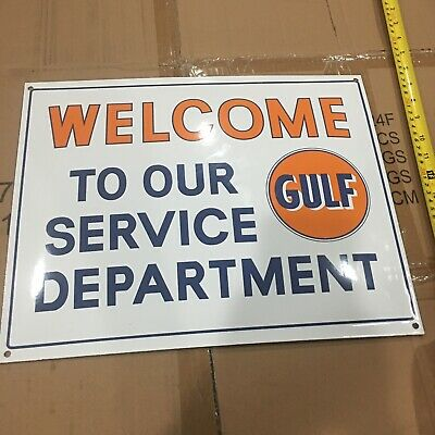 Gulf Gas Welcome To Our Service Department Porcelain Enamel Advertising Sign New
