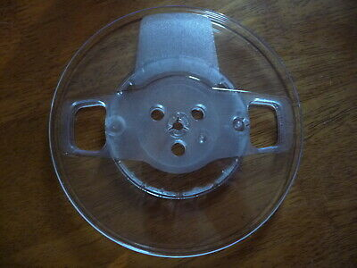 """7"""" X 1/4"""" clear plastic take up reel empty spool NOS qty 10 w large center"""