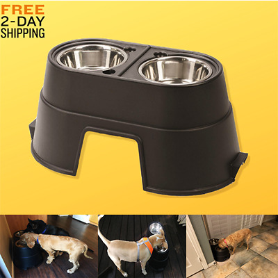 Dogs Bowl Metal Feeding Elevated Station Large Double Pet Food Large Pet Stand .