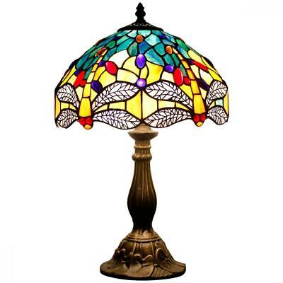 Tiffany Lamp Sea Blue Yellow Stained Table W12 Inch H18