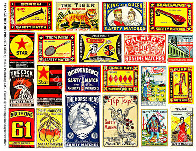 Match Book Covers, Safety Matchbox Label Reproduction Art Tags, 1 Sticker Sheet