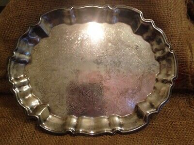Vintage Leonard Silver Plate Footed Engraved Baroque Silhouette Tray Ornate