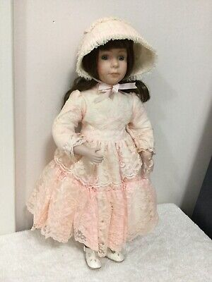 Porcelain Girl Doll 45cm Tall Green Eyes Brown Hair Excellent Condition