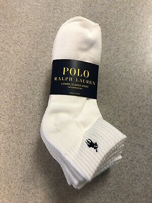 Polo Ralph Lauren Socks Athletic 6-Pair Men's Quarter Crew Classic Sport White