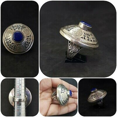 wounderful Afghan silver plated ring with stunning lapis lazuli stone # Z6