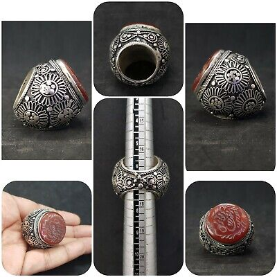 Islamic old sliver plated ring with stunning color red agate writing stone # 3A