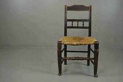 Single Rustic Country Made Vernacular Rush Seat Kitchen Dining Chair