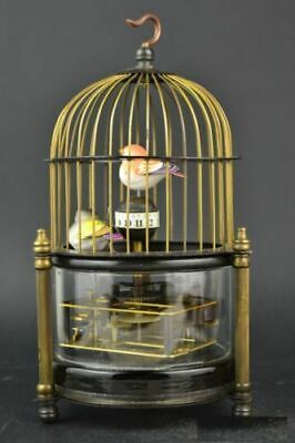 Collectible Old Copper Glass Lifelike Bird Decor Mechanical Clock (only hour)