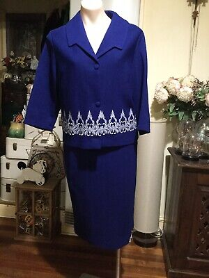 Vintage Pure Wool Skirt Jacket Suit Sapphire Blue White Stitching Size 12-14