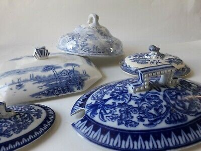 A Joblot of Antique / Vintage Blue And White China Tureen/Serving/Butter Lids